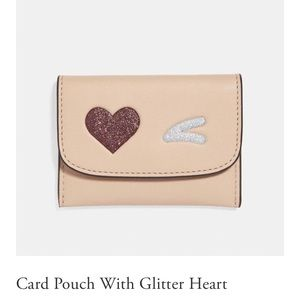 NWT Coach Card Pouch with Glitter Heart